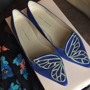 Sophia Webster blue butterfly flat